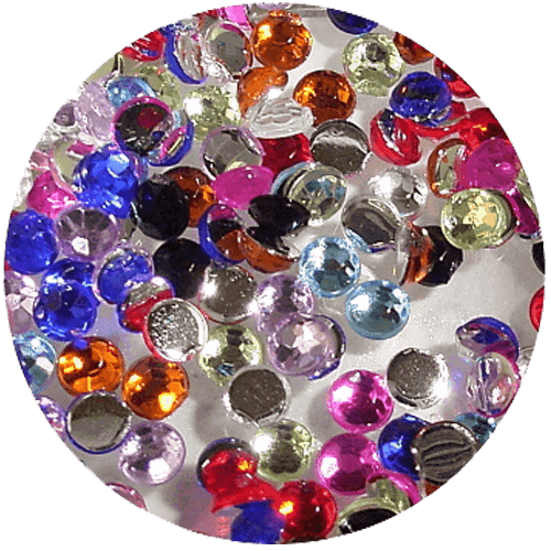Asian Rhinestones Round Mixed Colours