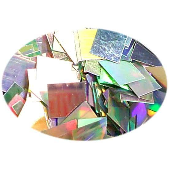 Glitter Holo Silver Square 3mm