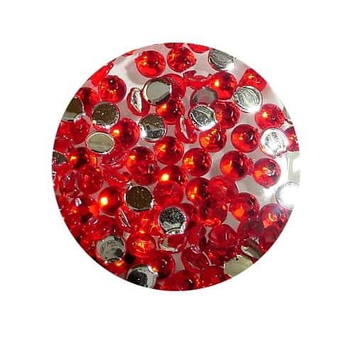 Asian Rhinestones Round Red