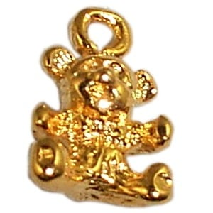 Gold Teddy Bear Nail Dangles