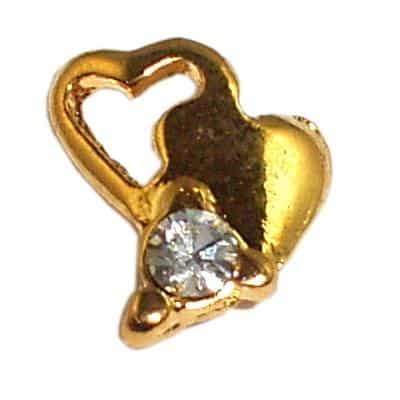 Gold Intertwined Hearts Nail Charms