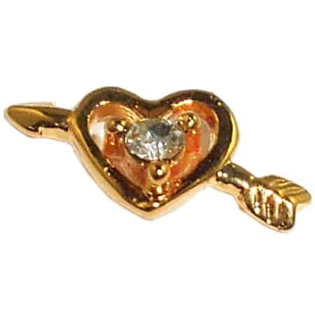 Gold Arrow Heart Nail Charms