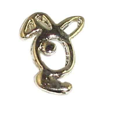 NP90G - Silver Playboy Bunny Nail Charms