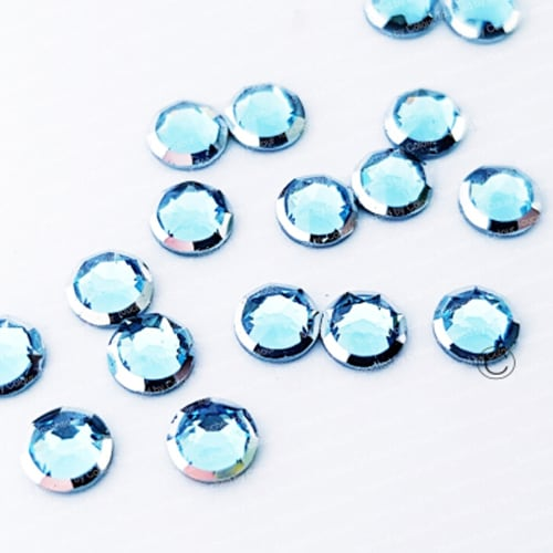 Aquamarine Silver Rim – Tiny Treasures – Flat Back