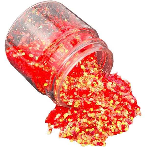 Flame Orange Glitter Large